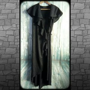 Sheer wrap lacey black duster